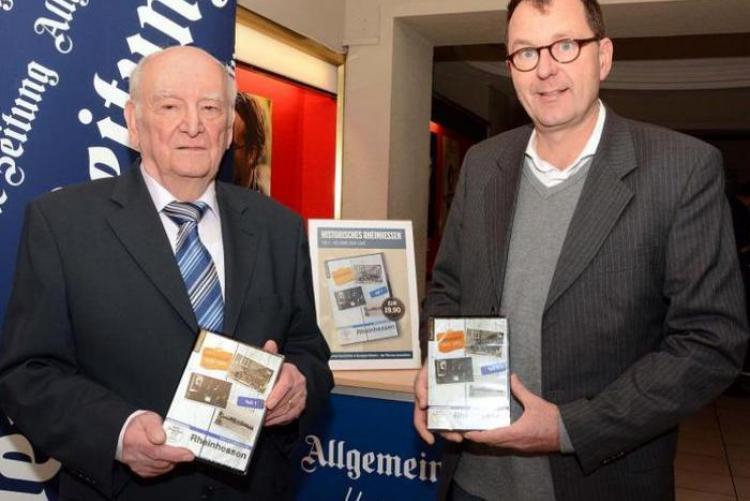 Zeitzeuge Gerd Morlock mit Regisseur Bernd Nebeling (rechts) bei der Vorstellung der Rheinhessen-DVD im Mainzer Capitol. Foto: hbz/Harald Linnemann